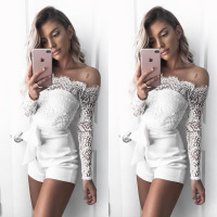 Hot Sexy Lace Bodysuit for women 2018 New Off-shoulder jumpsuit Womens Fashion Long Sleeve Slack neck body feminino catsuit