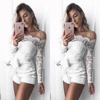 Hot Sexy Lace Bodysuit For Women 2018 New Off Shoulder Jumpsuit Womens Fashion Long Sleeve Slack