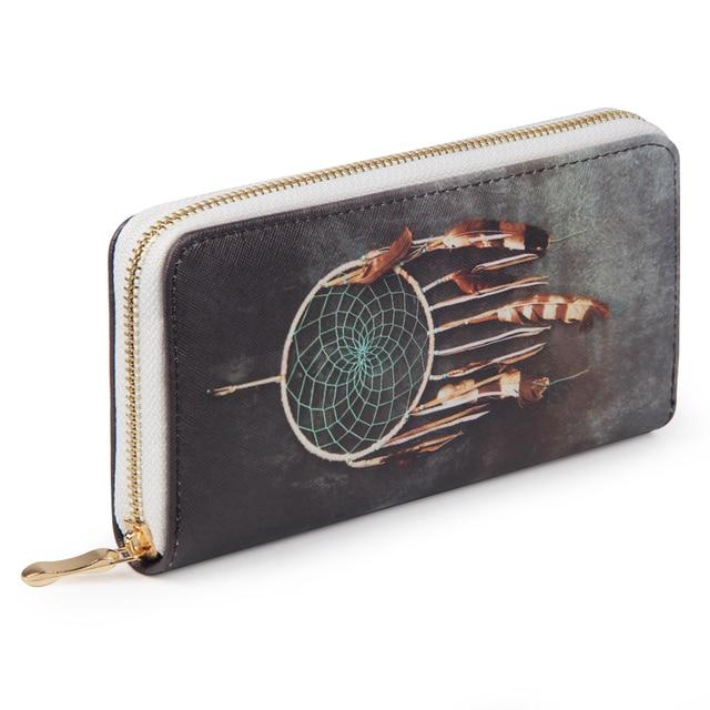 Печать с длинным Для женщин кошелек из искусственной кожи на молнии слота телефон сумка деньги монеты carteira дамы клатч женский кошелек