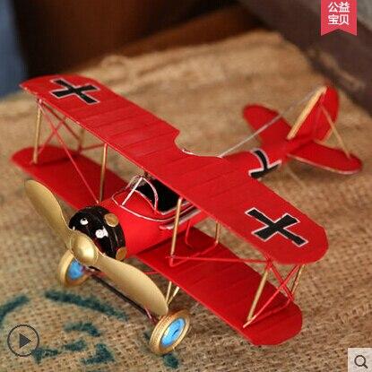 Vintage Home Decor Vánoční dárek Kovové letadlo Model Dětský pokoj Dekorace Ložnice Měkké Nakládání řemesel Ozdoby