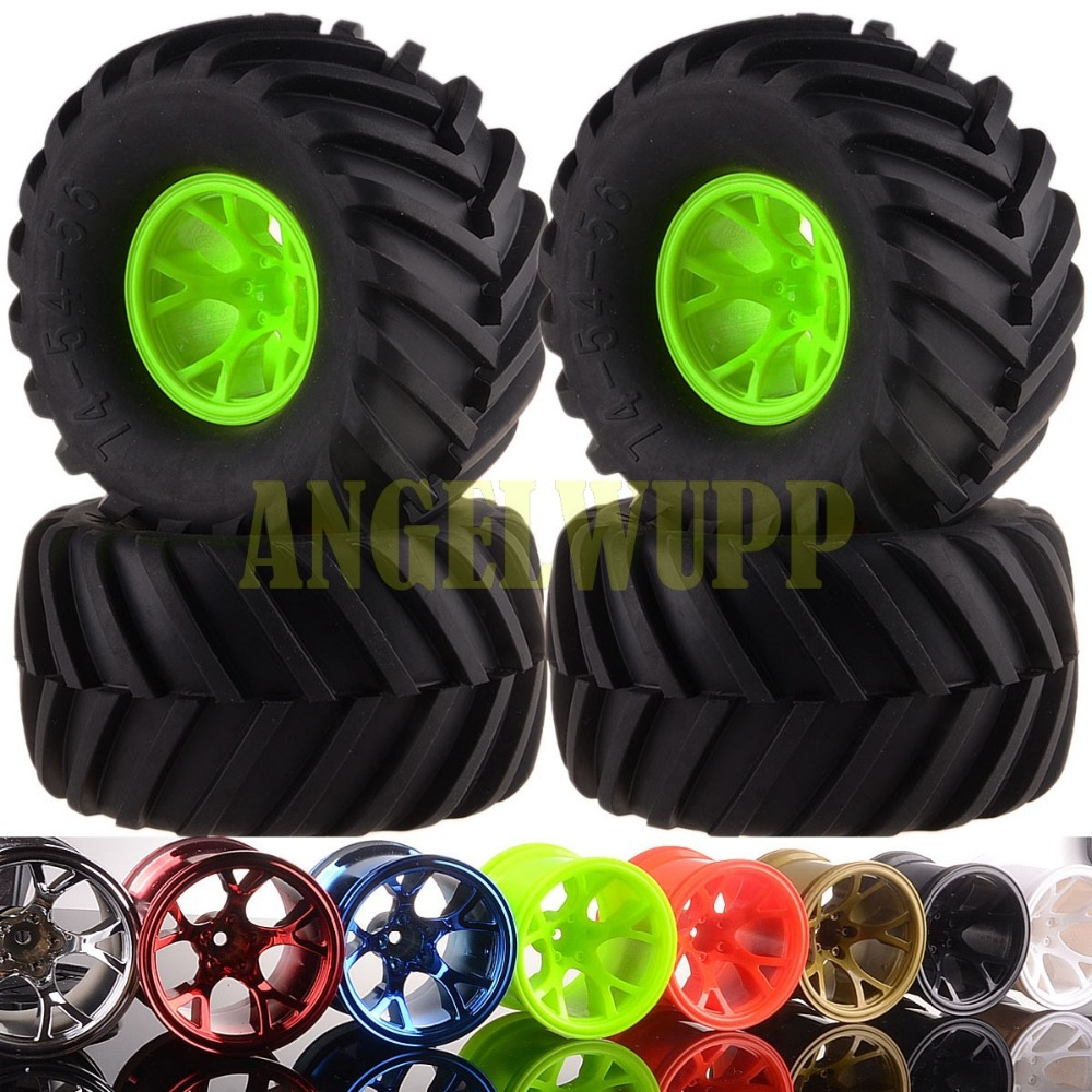 RC 1/10 Off Road Monster Truck Wheel Rim&Tyre Tires 6009-3000 HSP HPI 8Colors 4pcs set 140mm rc 1 8 monster truck tires tyre plastic wheel rims