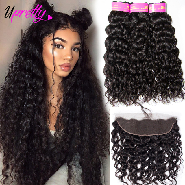 Upretty Brazilian Hair Weave Bundles With Closure Wet And Wavy Human Water