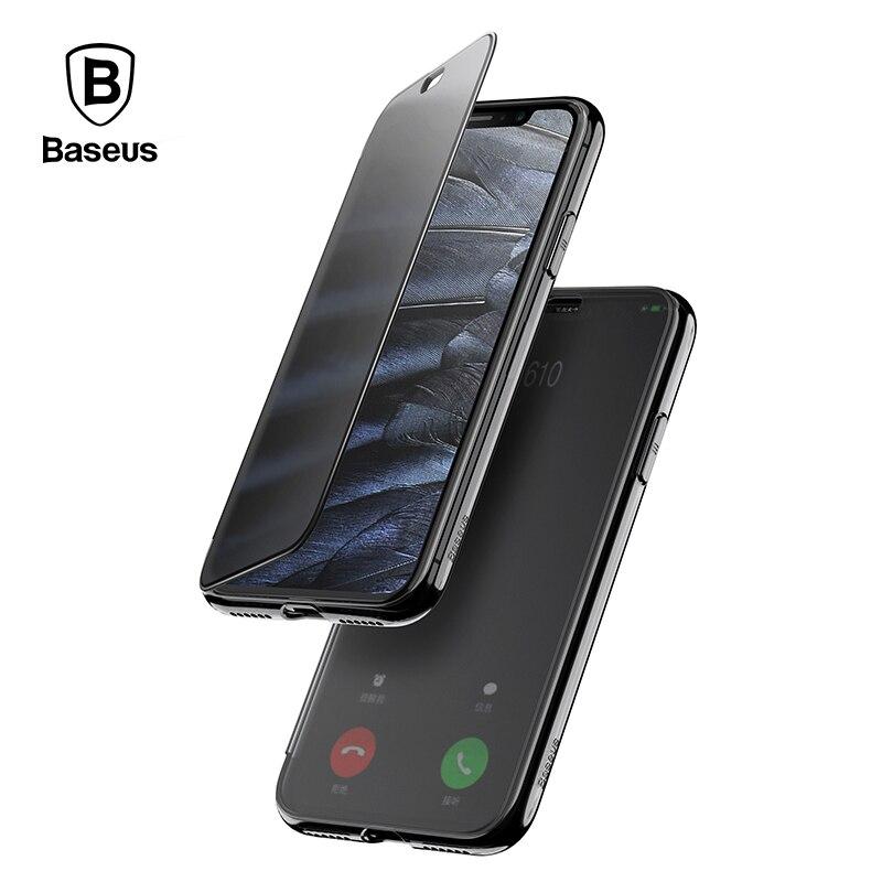 Baseus Nouveau modèle Flip Couverture Pour iPhone X Cas Palpable Trempé Couvercle en verre + TPU Cas de Coquille Arrière Pour iPhoneX Protection Cas
