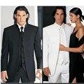 Custom Design Size and Color No Button Groom Tuxedos Groomsmen Mandarin Collar Men Wedding Suits(Jacket+Pants+Tie+Waistcoat)