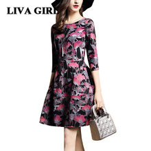Women Dress Autumn Winter 2017 in O-Neck Lanon Polyester Print Vintage Knee-Length Women's Dresses XXL A-Line Vestidos Mujer