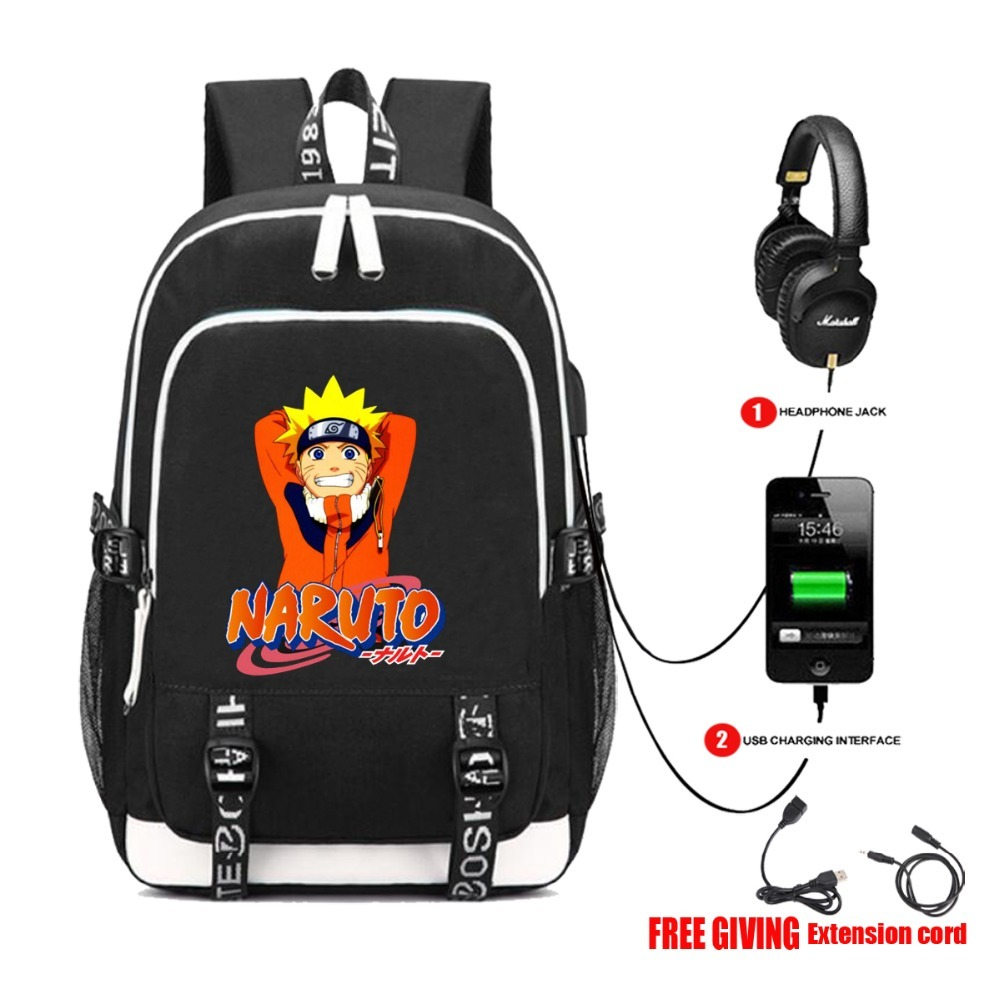 USB charging Headphone jack Teenagers unisex travel Bag student book packsack anime Naruto backpack cospaly backpack 24 style