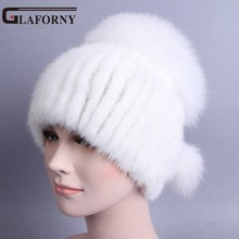 Glaforny 2017 New Design Women Genuine Mink Fur Beanies with Silver Fox Fur Tops Russian Winter Warm Fur Hats Striped Casual Cap