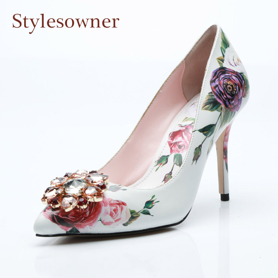 Stylesowner new fashion rose print bridal wedding shoes women pumps pointed toe stiletto diamond decor flower party dress shoes creativesugar slingback satin evening dress shoes pointed toe pearl bow 6cm kitten heels pumps bridal wedding party rose red