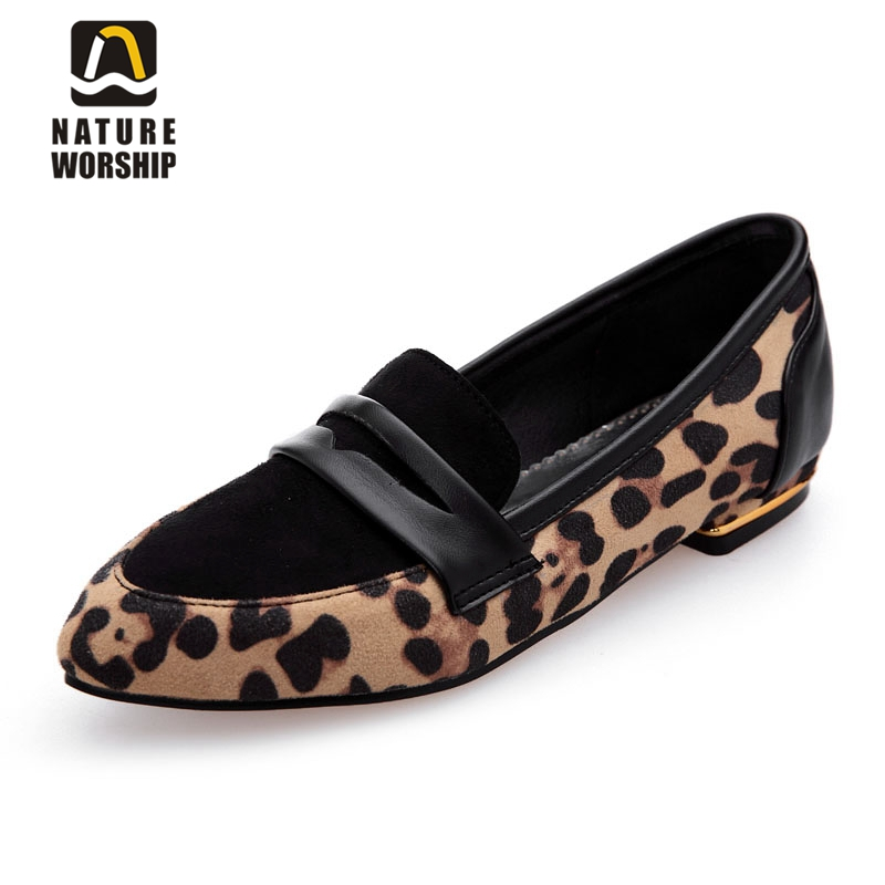 Nubuck Leather Leopard Shoes Flats Shoes Slip-On Pointed Toe Ballet Flats Shallow Mouth Bigsize 34-47 Spring/Autumn Casual Shoes