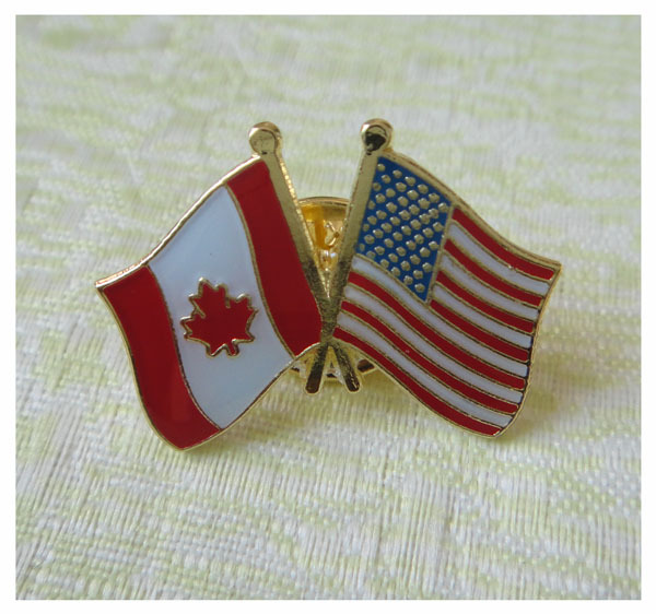 Good Custom Canada And USA Pin Badge/Friendship Pin Brass Painted With Epoxy And  Butterfly Button On The Backing Free Shipping!  In Pins U0026 Pincushions From  Home ...