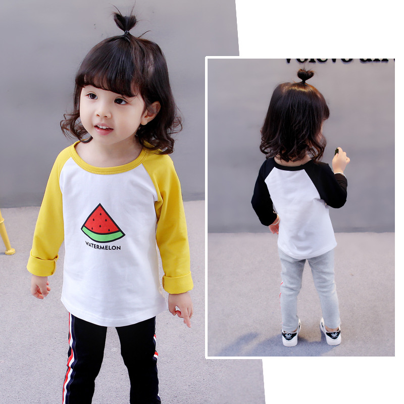 Spring Autumn Style Kids Girls Clothes Watermelon Pattern Long Sleeve Watermelon T shirt Baby Clothes Outfit Tee Tops 2-6 Years