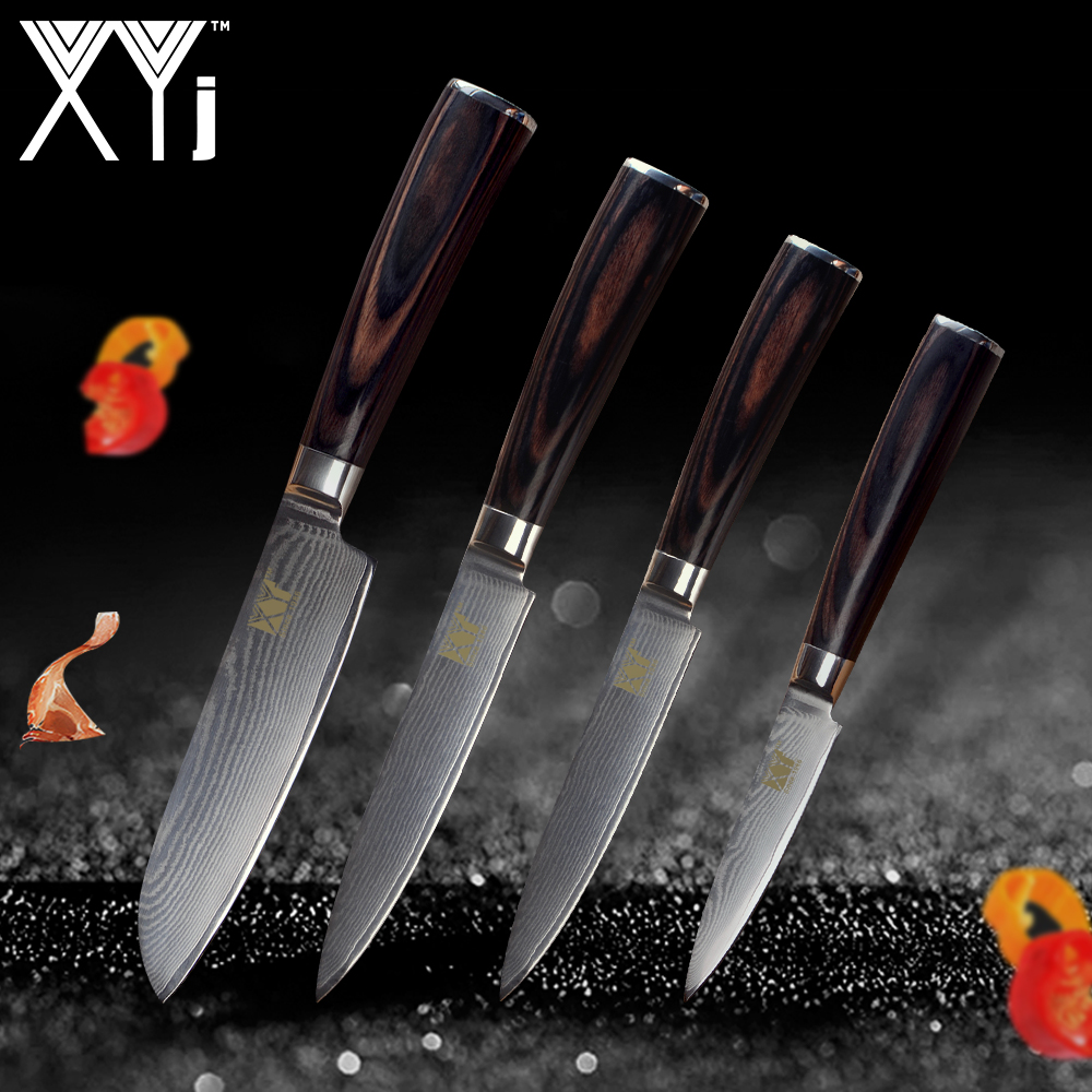 XYj Kitchen Knife New Arrival 2018 Damascus Cooking Knives VG10 Core Japanese Damascus Steel Veins Kitchen Tools Accessories