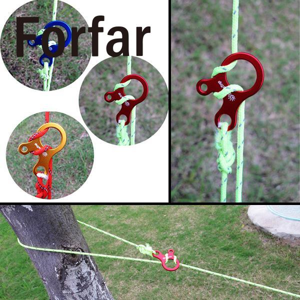 Multi Uses Hook Stopper Ropes Tie knots Camping Tent Hammock Rope Hook button carabiner Buckle 3 Holes Camping Tool