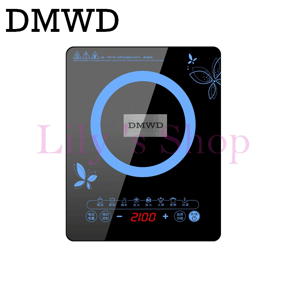 DMWD Electric magnetic induction Cooker touchpad Household waterproof boiler mini hot pot stove hotpot oven Cooktop 2100W EU US mini electric pressure cooker intelligent timing pressure cooker reservation rice cooker travel stew pot 2l 110v 220v eu us plug
