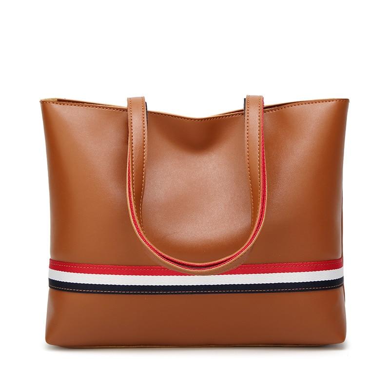 woman American and European Colour Tote bag 2018 New large capacity Women's bag 100 lap stripes single shoulder handbag