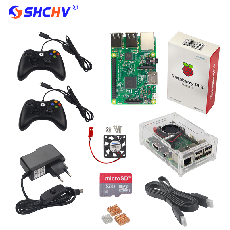 Raspberry Pi Game Kit Raspberry Pi 3 + 2 Game Controller + 32GB SD Card +Power Adapter +Acrylic Case + HDMI Cable +Heat Sink+Fan 10 in 1 raspberry pi 3 abs case 8gb sd card gpio adapter 2pcs heat sink hdmi cable 2 5a power adapter with switch cable for pi 3
