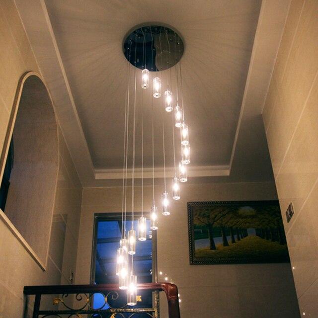 China Moderna villa K9 cristal lámpara LED lámpara larga S Rotary ...
