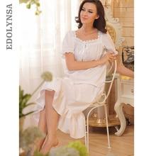2015 Brand Sleep Lounge Pajamas Women Sleepwear Cotton Nightgowns Sexy Long Robe Home Dress White Nightdress