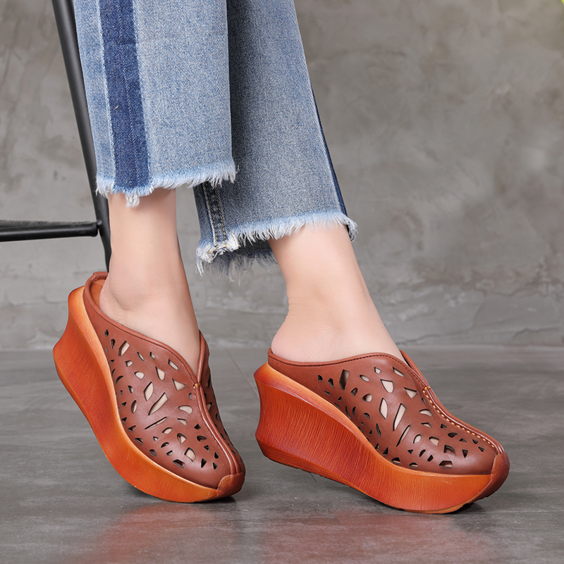 Slide Sandals Women Genuine Leather Female Wedges Cut Out Platform Handmade Comfortable Slippers Casual Lady Heeled Shoes