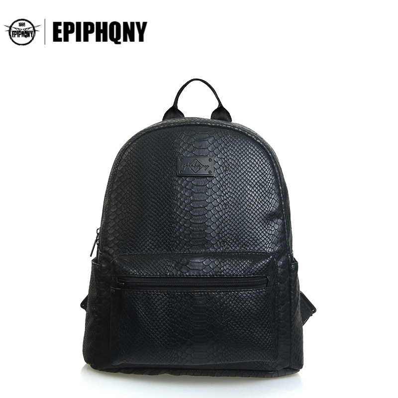 Epiphqny Brand Waterproof Small Black Cool Backpacks Women PU Leather Backpack Crocodile Travel Space Daily School Backbag