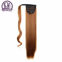 MSIWIGS Straight Long Wrap On Synthetic Ponytails For Women Heat Resistant Natural Clip In Hair Extension