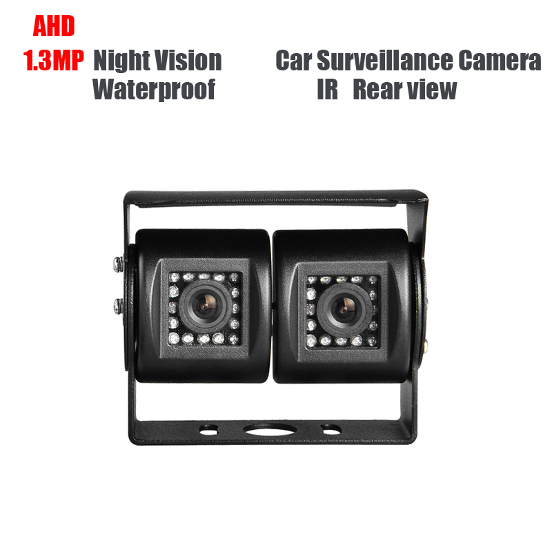 AHD 1.3MP Dual Cam IR Night Vision Waterproof Rear View Parking Backup Reversing Camera for Truck Bus Vans Surveillance Security