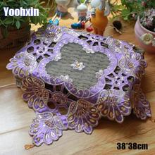 Placemat Cup Coffee-Mug Doily Dish-Pan Coaster Cloth Dining-Pad Embroidery Christmas-Table