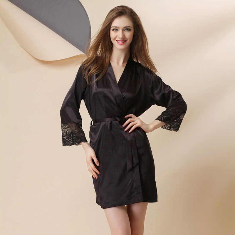 4e0b9a46ead40 ... Европейский стиль 2019 новый халат женский длинный рукав весна осень шелковый  халат Повседневный Шелковый халат женская ...