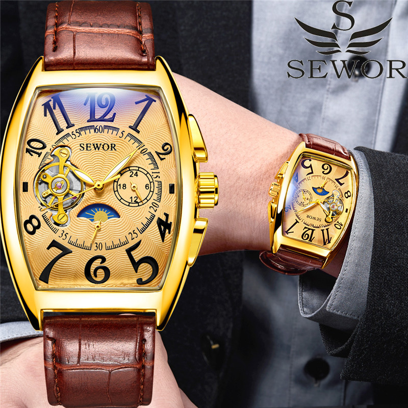 Automatic Mechanical Tourbillon Sport Male Clock   Gold Classic Man Wristwatch