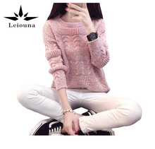 Leiouna 2017 New Women Warm Wool Solid Female O-neck Full Sleeve Spring Sweater Pullover Winter Knitted Pull Jumper