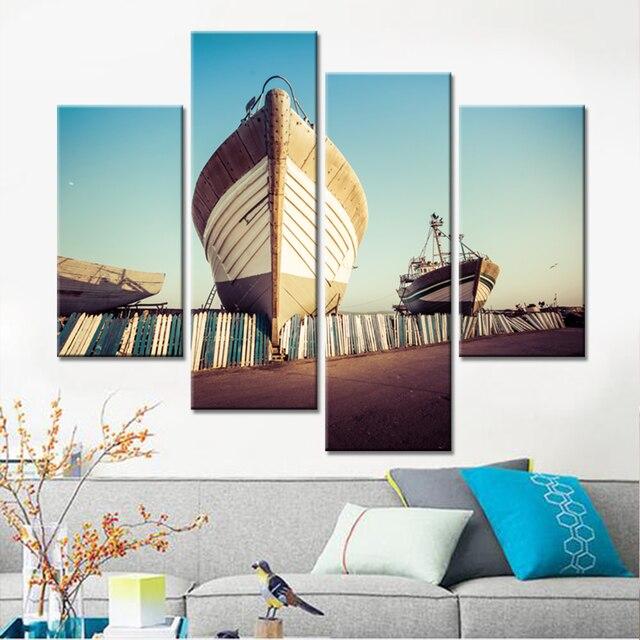 Hot Sale Rushed Modern Drop Shipping Canvas Wall Art Beach Boat Painting Home  Decor Modular