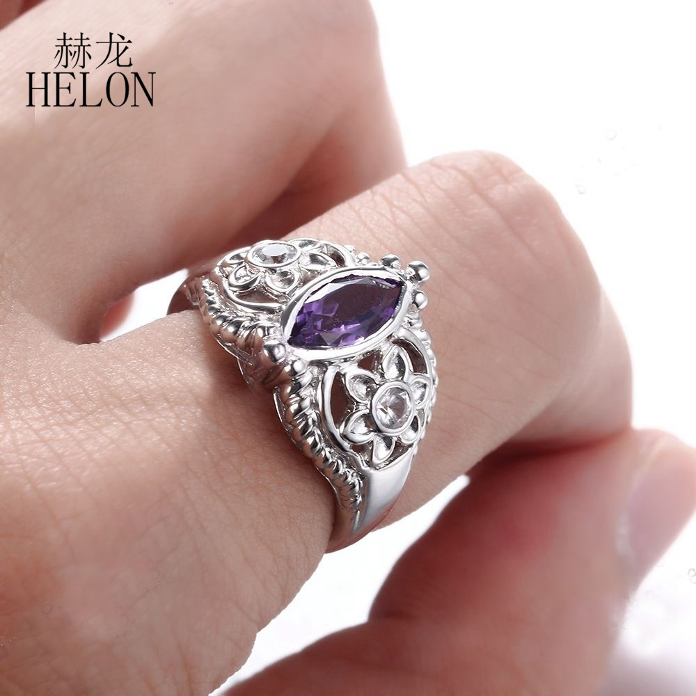 HELON Solid 14K White Gold 10x5mm Marquise 1.22ct Amethyst & White ...