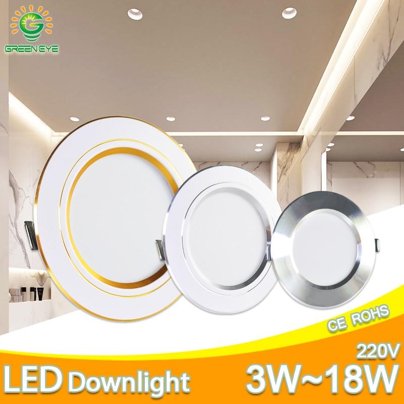 Downlight 3W 5W 9W 12W 15W 18W led downlight Silver White gold Ultra Thin Aluminum AC220V 240V Round Recessed LED Spot Lighting