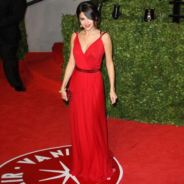 Vestido де феста Selena Gomez красный длинные вечерние платья глубокий V шеи макси знаменитости платье выпускного вечера дешево-сделано в китае шифон