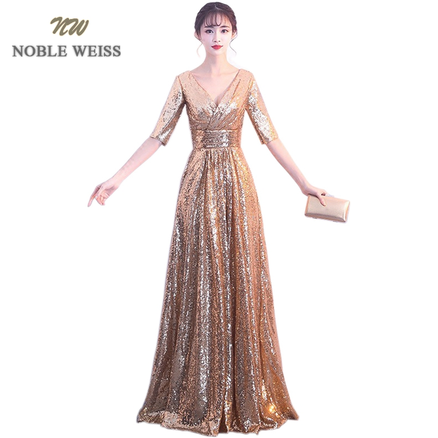 NOBLE WEISS Elegant Gold/Black Evening   Dress   A-Line Pleat   Prom   Gowns Formal Evening Gown Sequin   Prom     Dress   With Short Sleeves