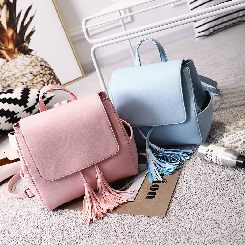 2017 new Sweet lady PU leather summer girls shoulder bag pure color tassel color small backpack