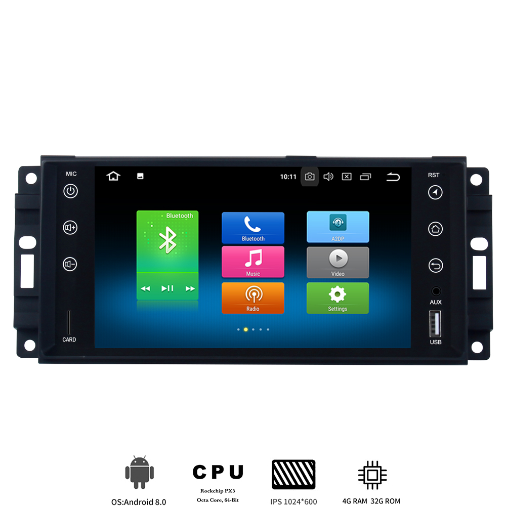 Car 1 din Android 8.0 multimedia for Jeep universal Chrysler Dodge autoradio stereo with 8 Core 4Gb+32Gb IPS screen built-in GPS image