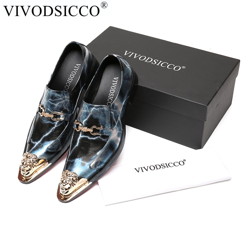VIVODSICCO Oxford Shoes For Men Genuine Leather Dress Wedding Shoes Metal Toe Mens Adult Nightclub Shoe Sapato Social Masculino pointed metal toe mens shoes formal design patchwork men leather shoes with crystal hoops spring autumn sapato masculino social