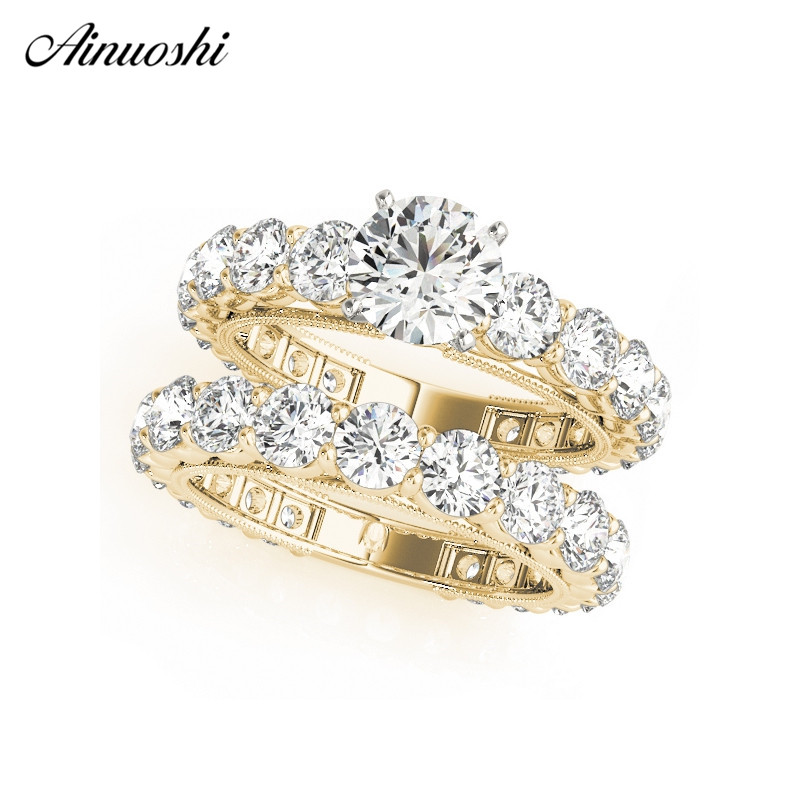 AINUOSHI 925 Sterling Silver Women Wedding Ring Sets Yellow Gold Color Round Cut Lover Rings Aniversary