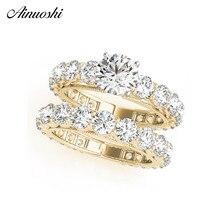 AINUOSHI 925 пробы Серебряное Женское Обручальное кольцо наборы желтое золото цвет круглая огранка кольца для влюбленных ювелирные изделия anillos de boda