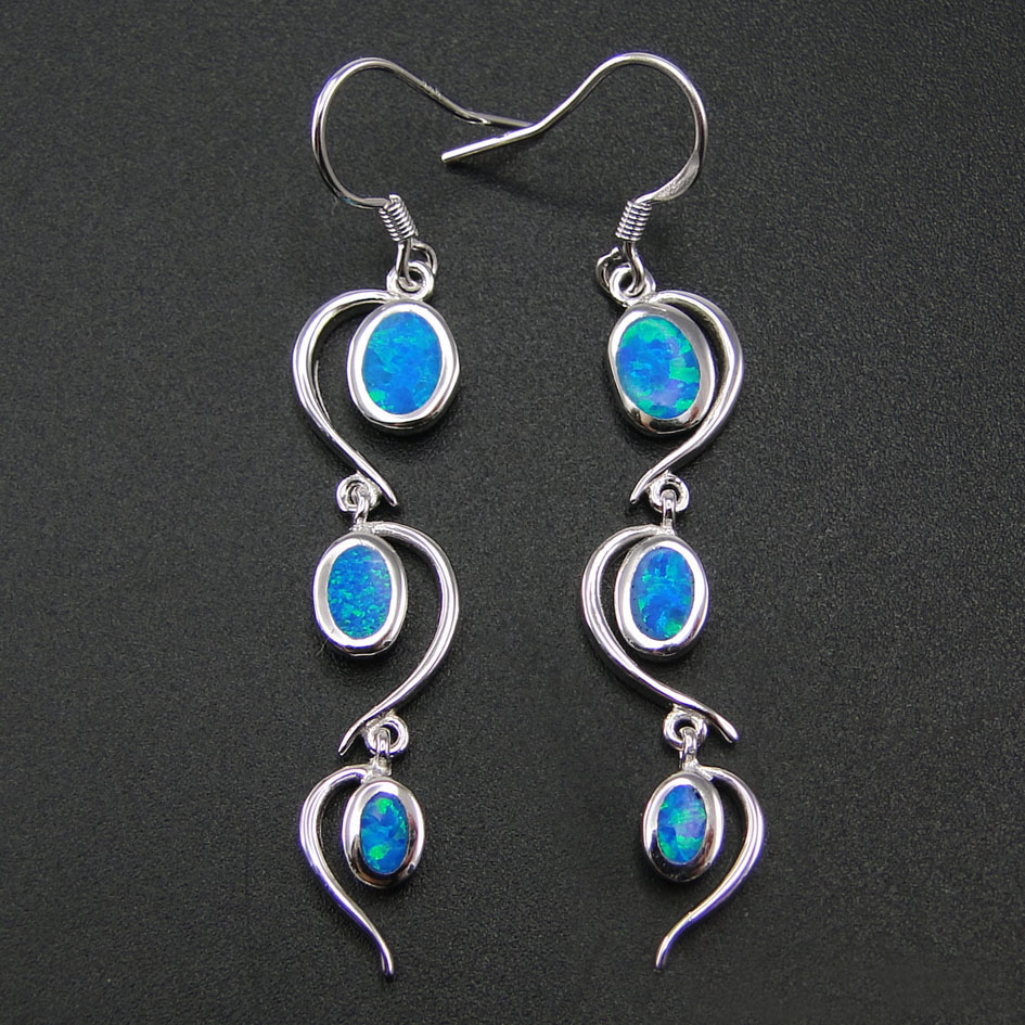 Best Selling Blue Fire Opal Earring Fine Jewelry 100% 925 Sterling Silver Jewelry Long Drop Earrings for Women with Blue Stone