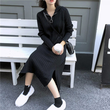 Knitted Sweater Dress Autumn Winter Hooded All-match Long Sleeve Zipper Black Women Gray Solid Color Ladies Dresses Korean
