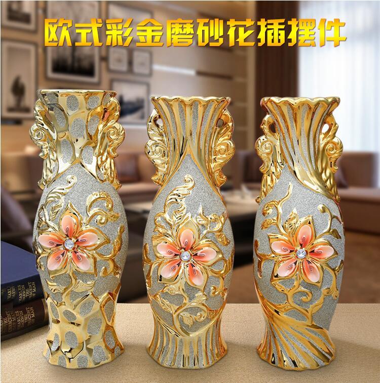Большой Европейский Позолоченные Украшения Дома Ваза Цветок Матовые предметы мебели