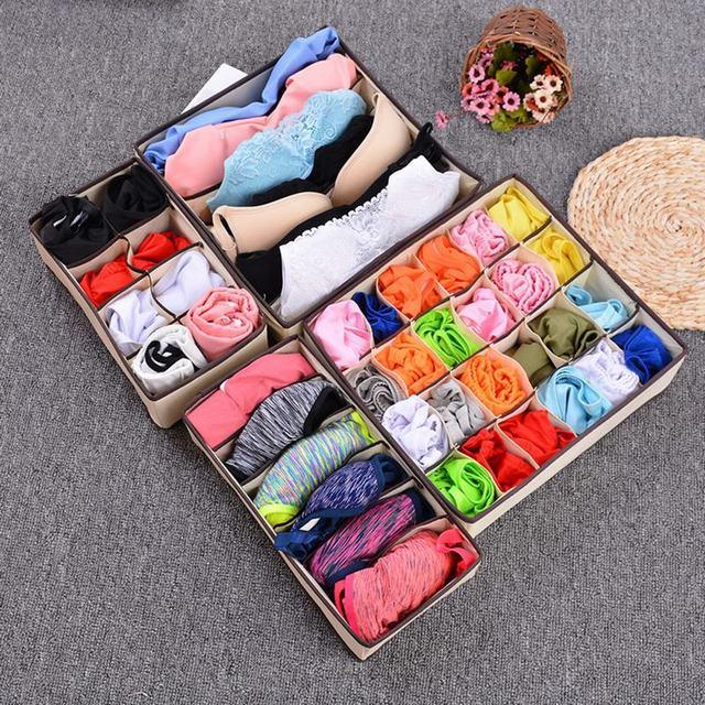 Urijk Multi-size Foldable Storage Box Bra Underwear Organizer Non-woven Fabric Wardrobe Organizer For Underwear Socks