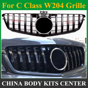 New style W204 GT GTR Grille for Mercedes W204 C Class front bumper racing grille C180 C200 C250 C300 fashion look 2008 - 2014