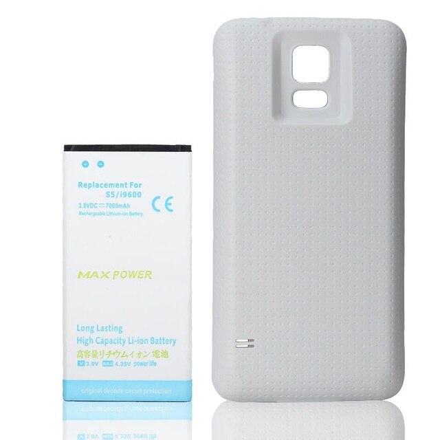 New 7000mah Extended Battery + White Door Back Cover For Samsung Galaxy S5 i9600 G900 G9009D G9008V G9006