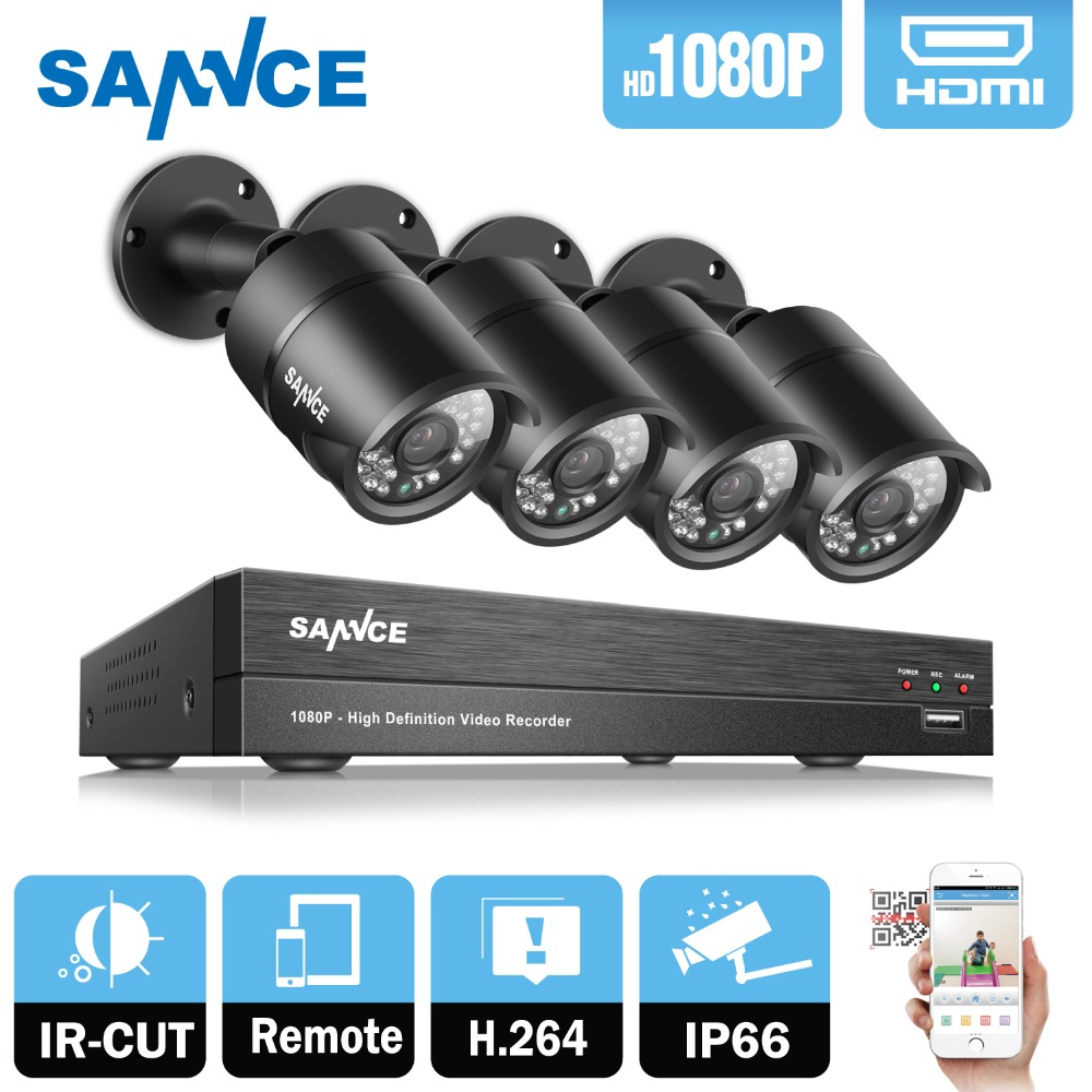 SANNCE 4CH HD 1080P CCTV System 1080P CCTV DVR 2.0MP 1080P AHD Security Cameras high resolution Outdoor Video Surveillance Kit sannce hd 4ch cctv system 1080p hdmi dvr 2pcs 720p 1280tvl cctv ir outdoor video surveillance security cameras 4ch dvr kit