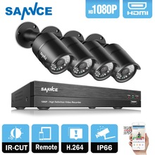 SANNCE 4CH HD 1080P CCTV System 1080P CCTV DVR 2.0MP 1080P AHD Security Cameras high resolution Outdoor Video Surveillance Kit