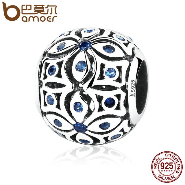 BAMOER 925 Sterling Silver Charms With Blue Crystals S925 Bead Charm fit Bracele