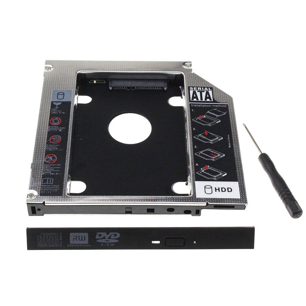 New 12.7mm Aluminum Metal Material 2nd HDD Caddy SATA To SATA 2.5